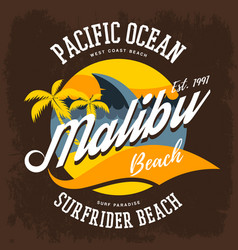surfrider beach t-shirt print or label vector image