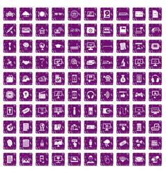 100 website icons set grunge purple vector image vector image
