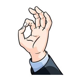 businessman hand gesture okey- vector image