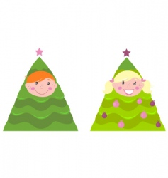 Christmas kid tree costumes vector image vector image
