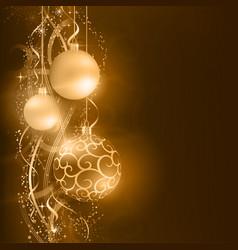 Dark golden Christmas balls with wavy star vector image vector image