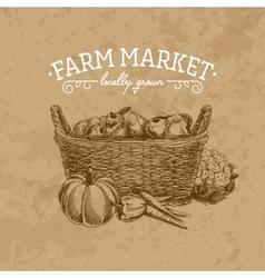 hand drawn farm market vector image
