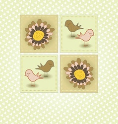 Spring Greeting with Birds and Flowers vector image vector image
