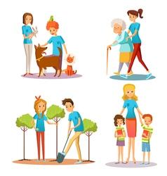 Volunteer People Help Flat Cartoon Collection vector image vector image