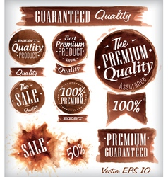 Watercolor Quality Badges brown vector image vector image