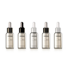 3d realistic cosmetic glass dropper bottle set vector image