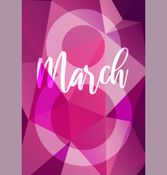 8 march womans day neon glowing flowers vector