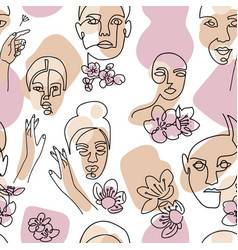 Abstract linear woman portrait seamless pattern vector