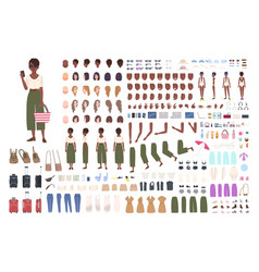 African american traveler woman animation kit vector