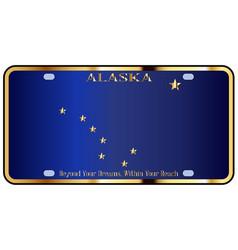 Alaska state license plate flag vector