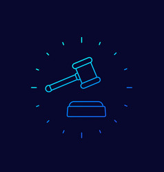 Auction hammer or gavel icon linear vector