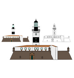 Barra lighthouse and military fort vector