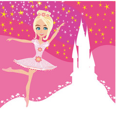 beautiful ballerina and magic castle vector image
