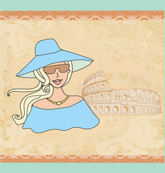 beautiful tourist in rome vector image