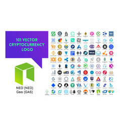 big set of colorful cryptocurrency logo vector image