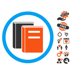 books icon with lovely bonus vector image