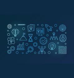 brainstorm outline blue horizontal vector image