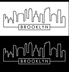 Brooklyn new york city skyline linear style vector