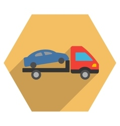 Car Evacuation Flat Hexagon Icon with Long Shadow vector