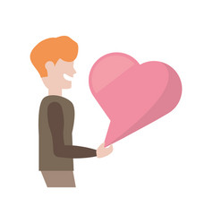 cartoon man with pink bubble speech heart vector image
