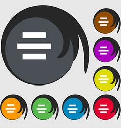 Center alignment icon sign Symbols on eight vector