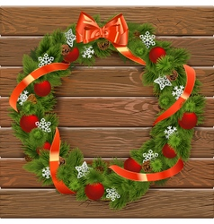 Christmas Wreath on Wooden Board 7 vector image