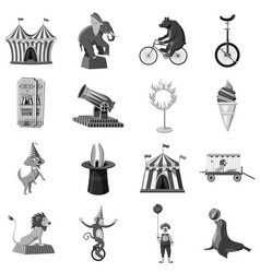 Circus symbols icons set monochrome vector