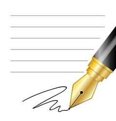 Close up of a fountain pen and signature vector image