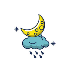 Cloud rain drops astrology moon line and fill vector