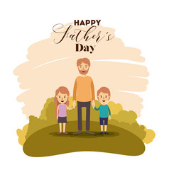 Colorful card of landscape with dad and sons on vector