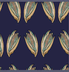 coloured corn seamless dark blue pattern vector image