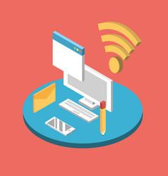 computer technology with data services connect vector image