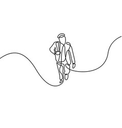 Continuous line man climb up steps first day vector