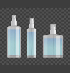 cosmetic spray bottles set isolated on checkered vector image