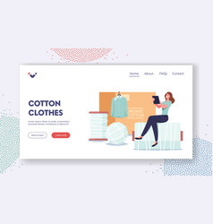 Cotton clothes landing page template tiny female vector