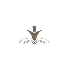 creative graduate student open book logo vector image