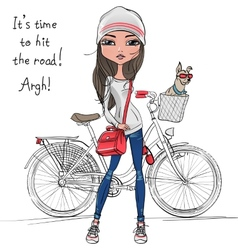 Cute hipster girl with bike and dog vector