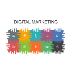digital marketing cartoon template with flat vector image