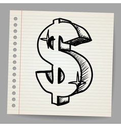 Dollar sign Sketch vector image