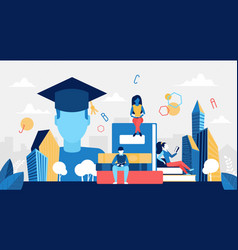 education technology digital library concept with vector image