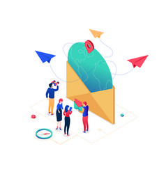email marketing - modern colorful isometric vector image