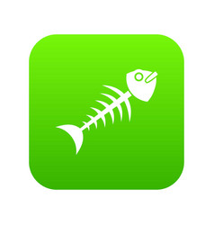 fish bone icon digital green vector image
