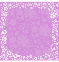 Floral frame with white flowers on violet vector image