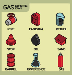 gas color outline isometric icons vector image