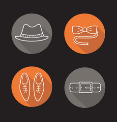 gentlemans fashion flat linear long shadow icons vector image