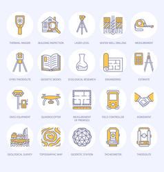 Geodetic survey engineering flat line icons vector