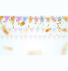 Golden flying blur confetti on light background vector