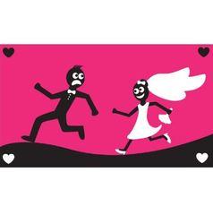 Groom runs away from bride vector