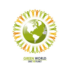group of people around the planet concept green vector image