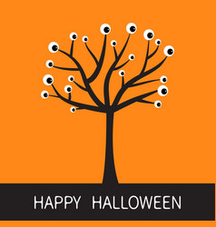 happy halloween card black tree silhouette with vector image